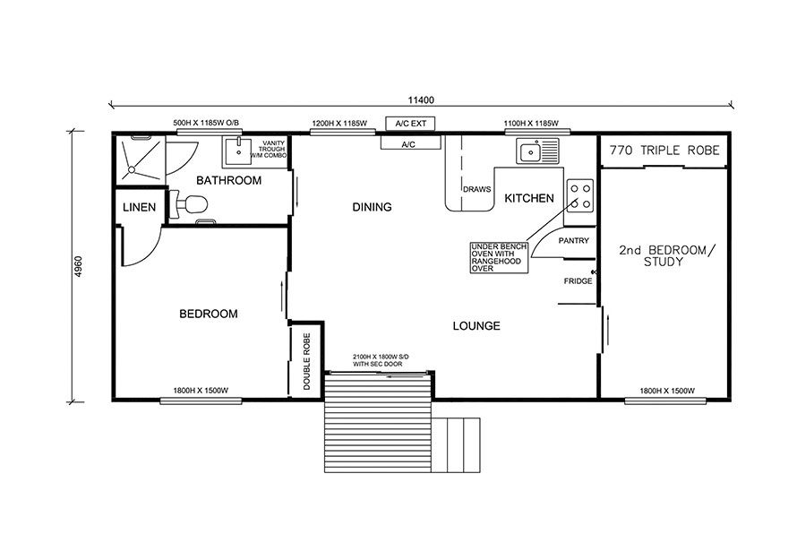 11.4m X 5.0m Two Bedroom 1