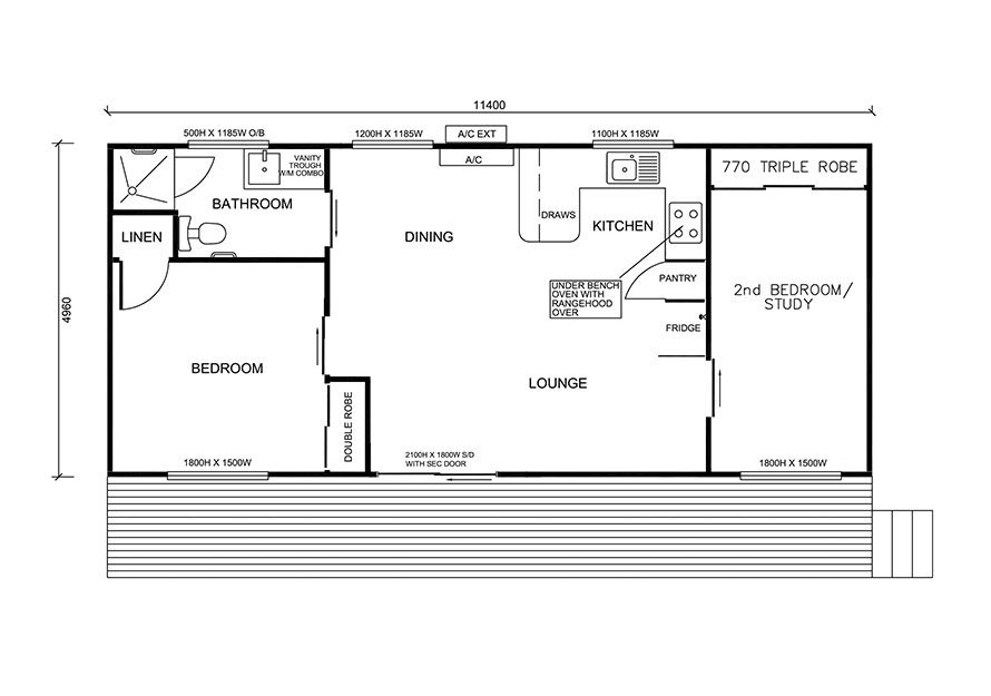 11.4m X 5.0m Two Bedroom 3