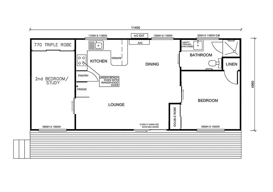 11.4m X 5.0m Two Bedroom 4
