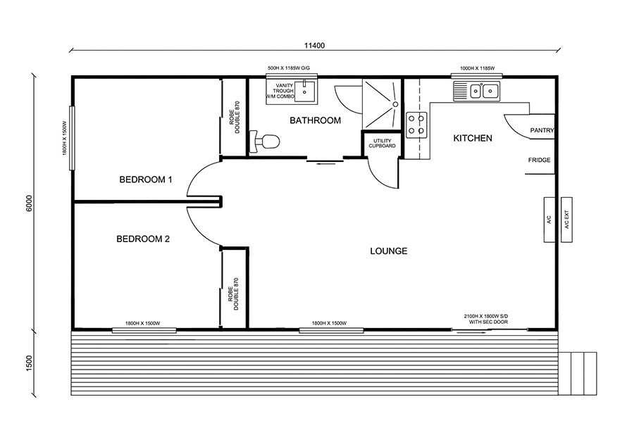 11.4m X 6.0m Two Bedroom 1