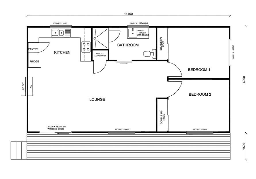 11.4m X 6.0m Two Bedroom 2