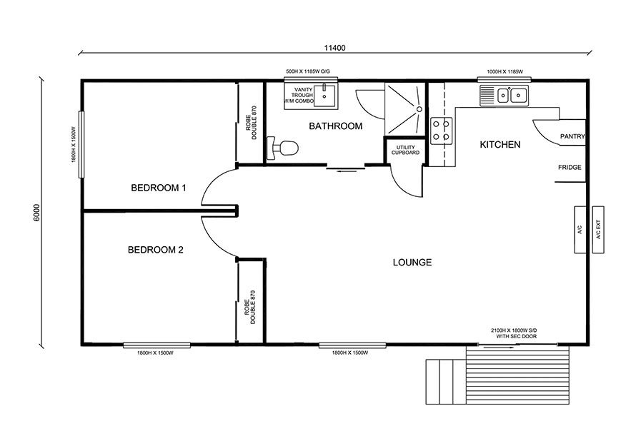 11.4m X 6.0m Two Bedroom 3