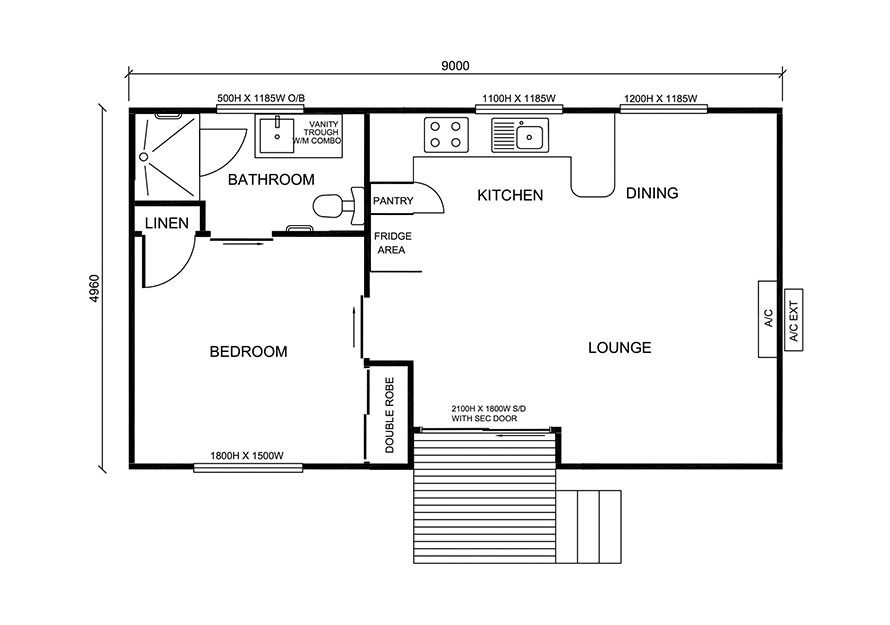 9.0m X 5.0m One Bedroom 1