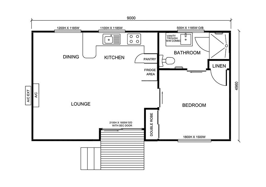 9.0m X 5.0m One Bedroom 2