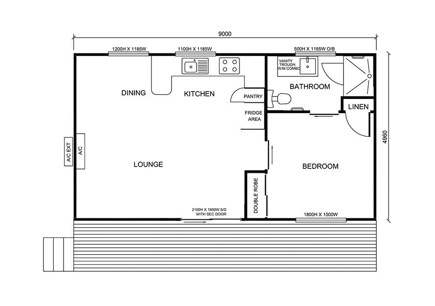 small granny flat floor plan 1 bedroom