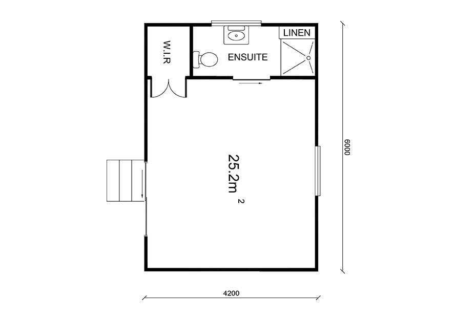 6 X 4.2 Sleepout with ensuite floor plans