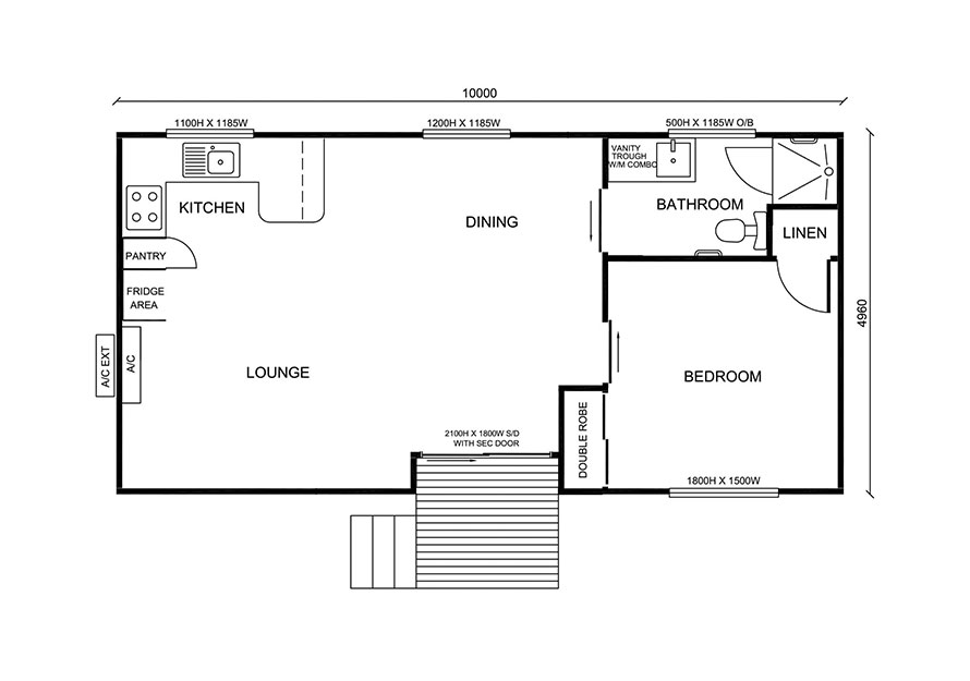 1 bedroom granny flat floor plan