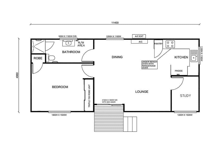 granny flat floor plan design self -contained unit