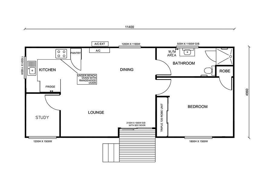 one bedroom and a study floor plan