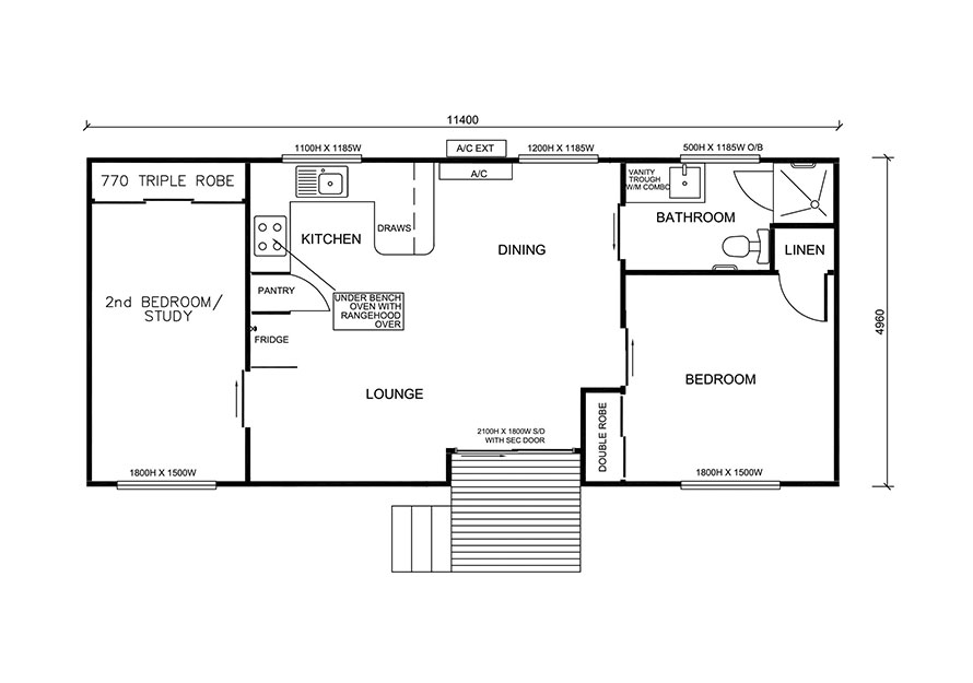 11.4m X 5.0m Two Bedroom 2