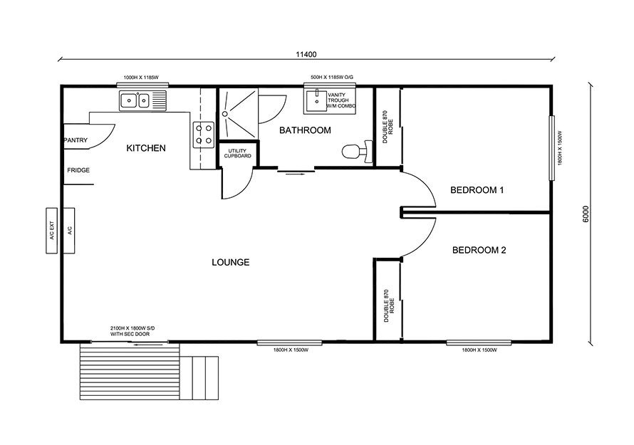 modern 2 bedroom granny flat floor plan